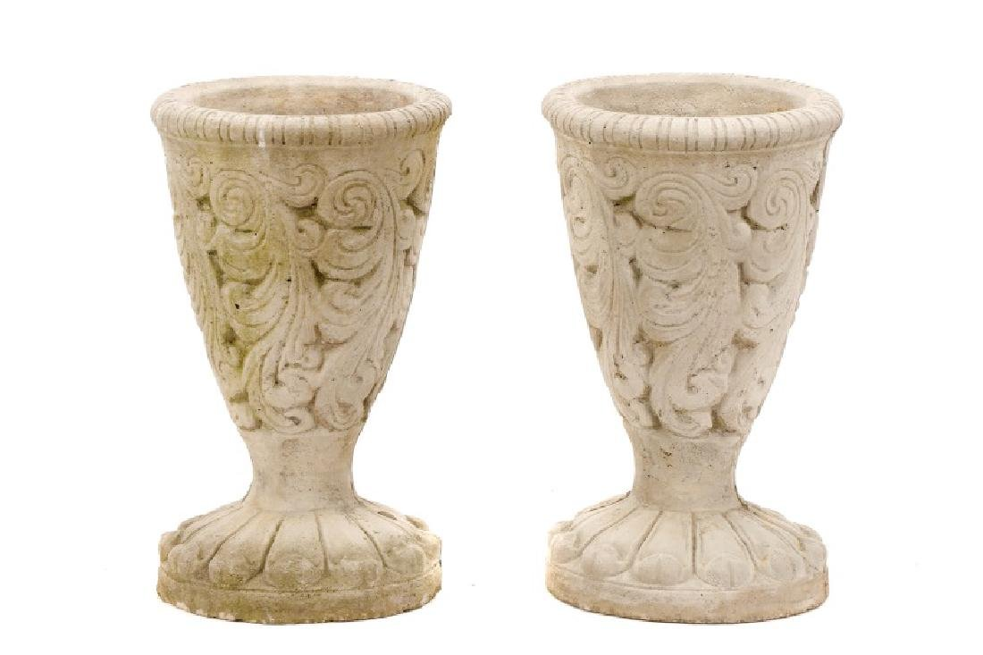 Pair of Cast Stone Footed Garden Jardinieres