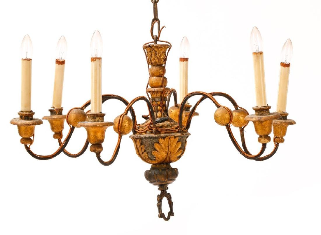 Italian Polychromed 6-Light Chandelier