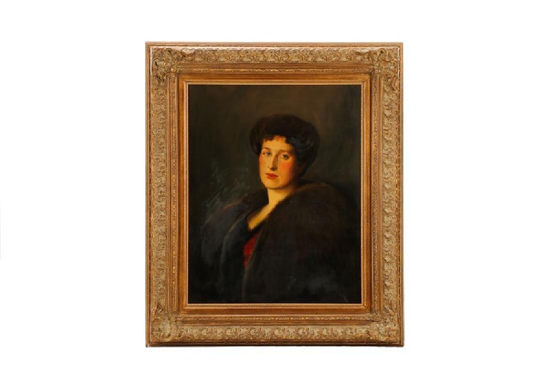 "American, ""Portrait of a Woman in Fur"", O/C"