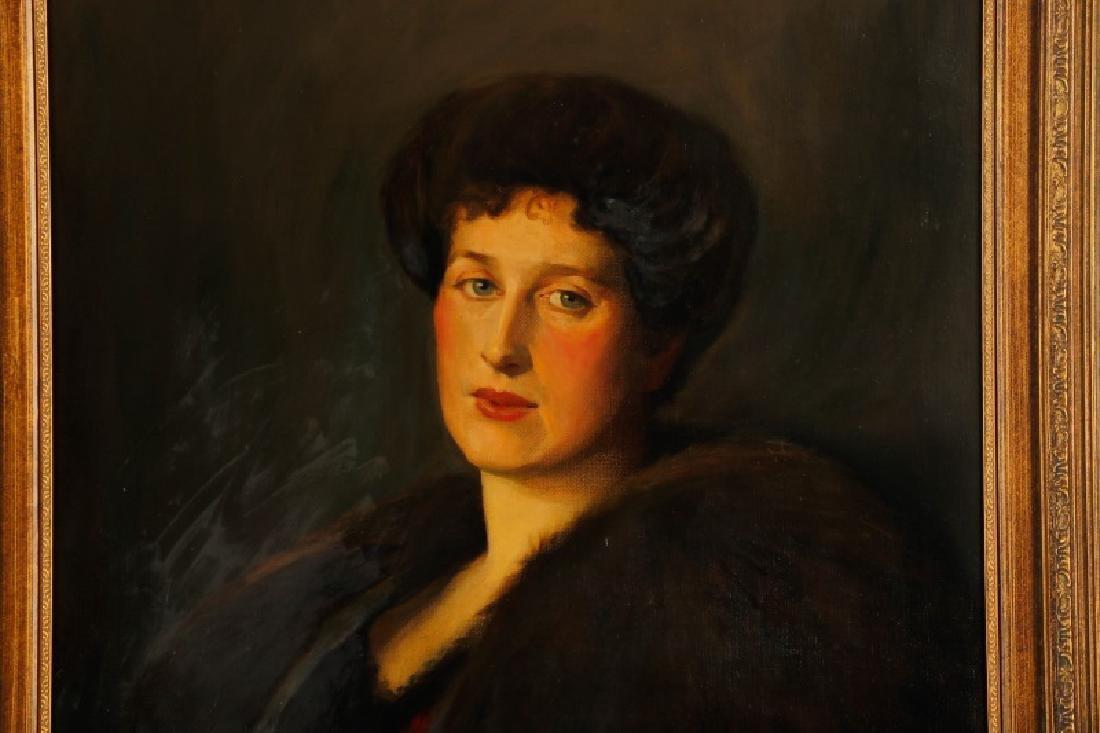 "American, ""Portrait of a Woman in Fur"", O/C - 2"