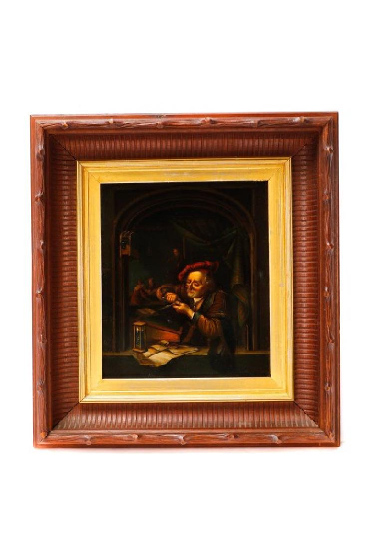 After Gerrit Dou, Scholar Sharpening Quill, O/T