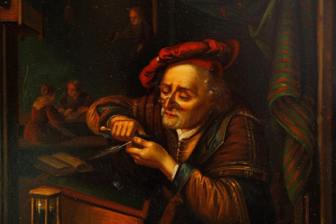 After Gerrit Dou, Scholar Sharpening Quill, O/T - 5