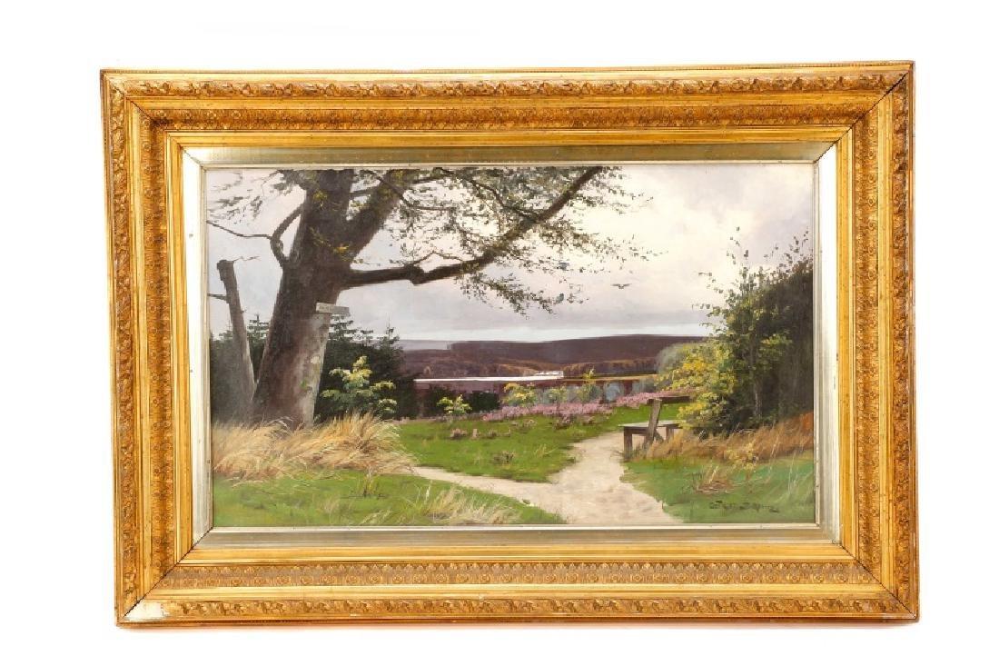 """Oscar Herschend, """"View of Silkeborg"""" O/C"""