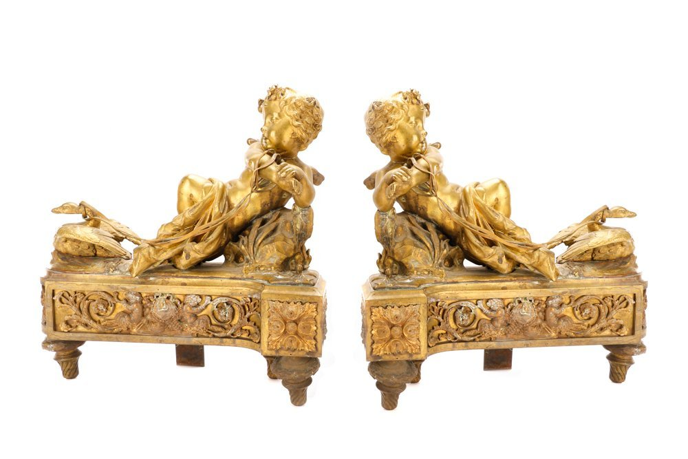 Pair, Louis XV Style Bronze Figural Chenets