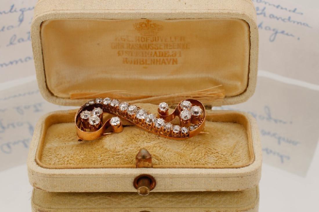 2ctw Diamond & 14k Yellow Gold Antique Scroll Pin - 3