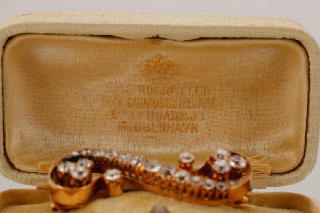 2ctw Diamond & 14k Yellow Gold Antique Scroll Pin - 5