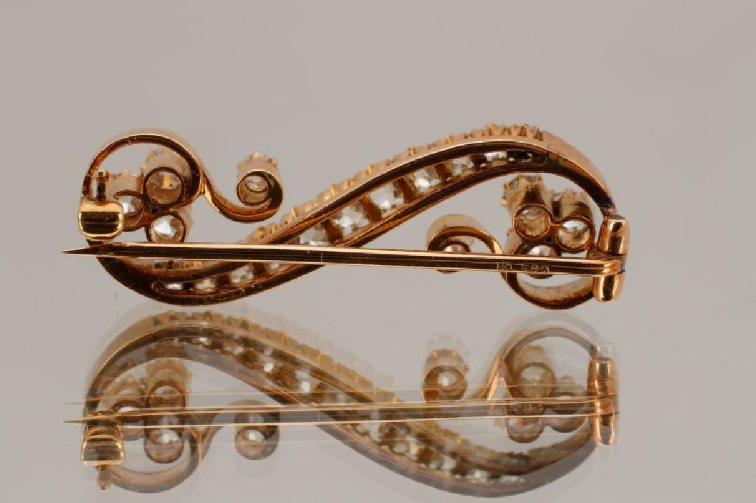 2ctw Diamond & 14k Yellow Gold Antique Scroll Pin - 8
