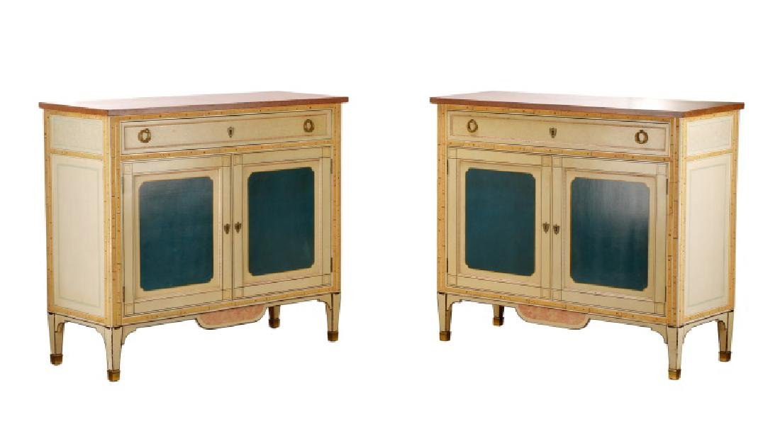 Pair, Simulated Marble Buffet Side Cabinets
