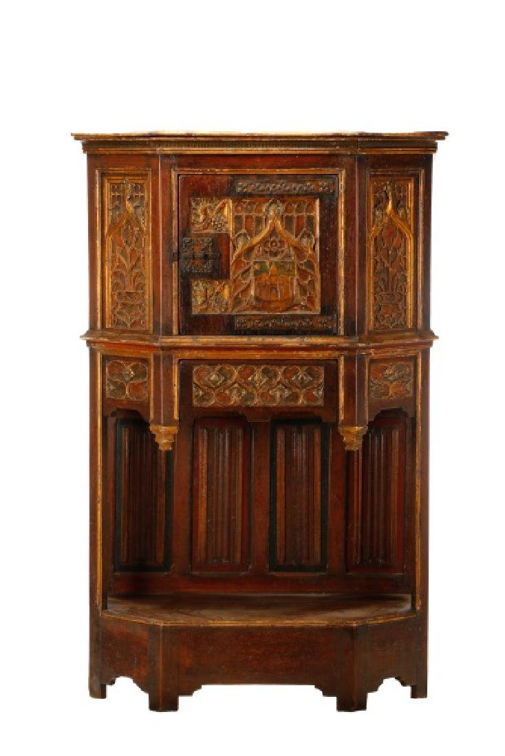 Gothic Revival Gilt & Polychrome Cabinet on Stand
