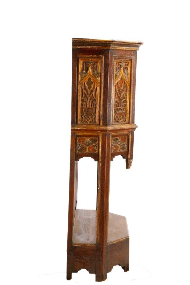 Gothic Revival Gilt & Polychrome Cabinet on Stand - 2
