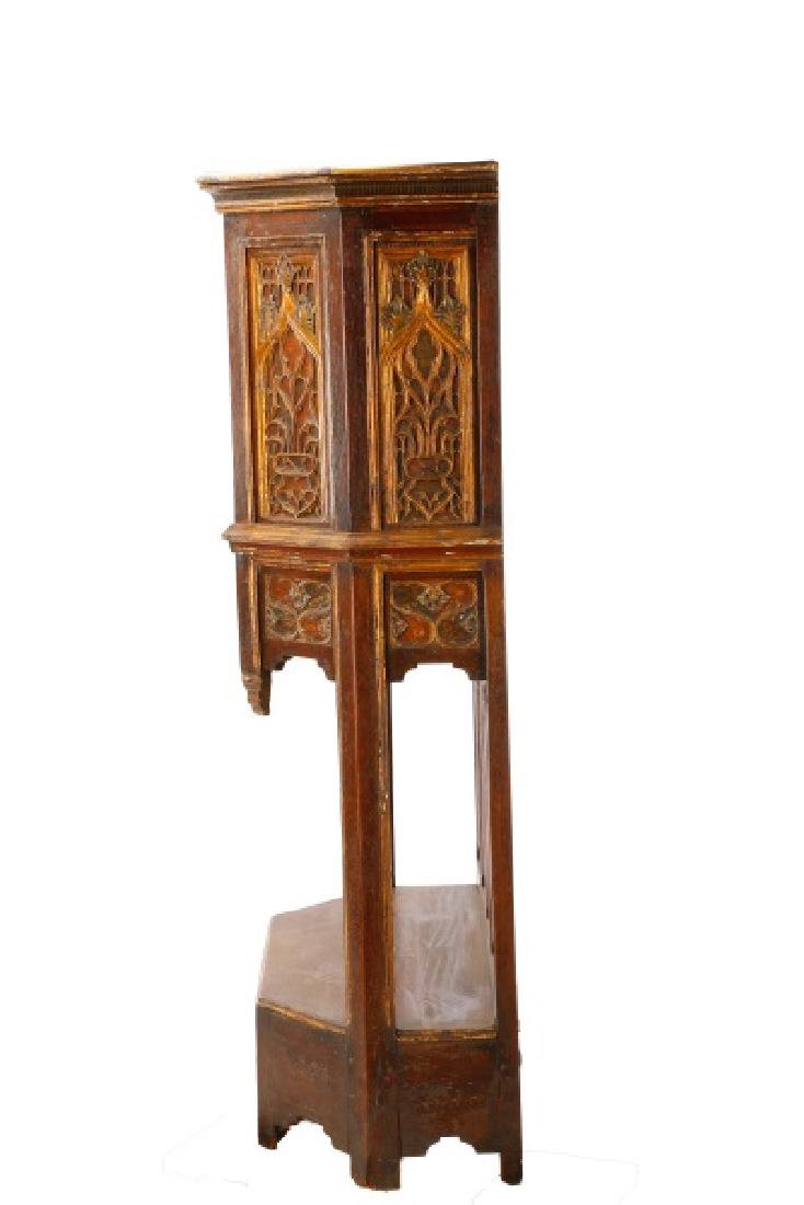Gothic Revival Gilt & Polychrome Cabinet on Stand - 3