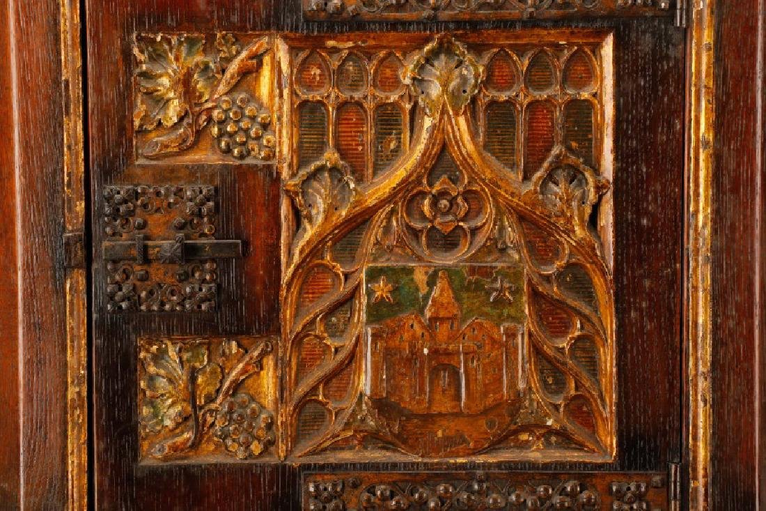 Gothic Revival Gilt & Polychrome Cabinet on Stand - 5