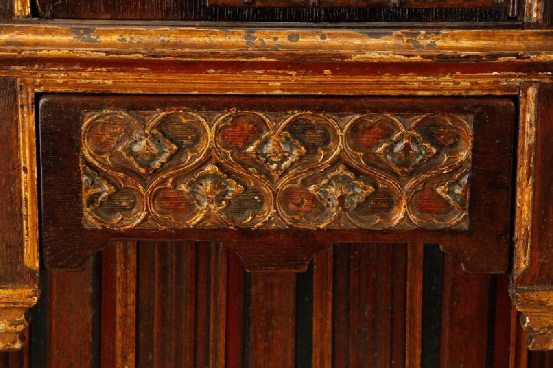 Gothic Revival Gilt & Polychrome Cabinet on Stand - 6