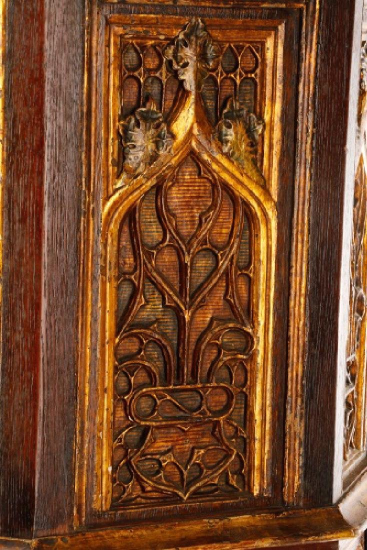 Gothic Revival Gilt & Polychrome Cabinet on Stand - 7