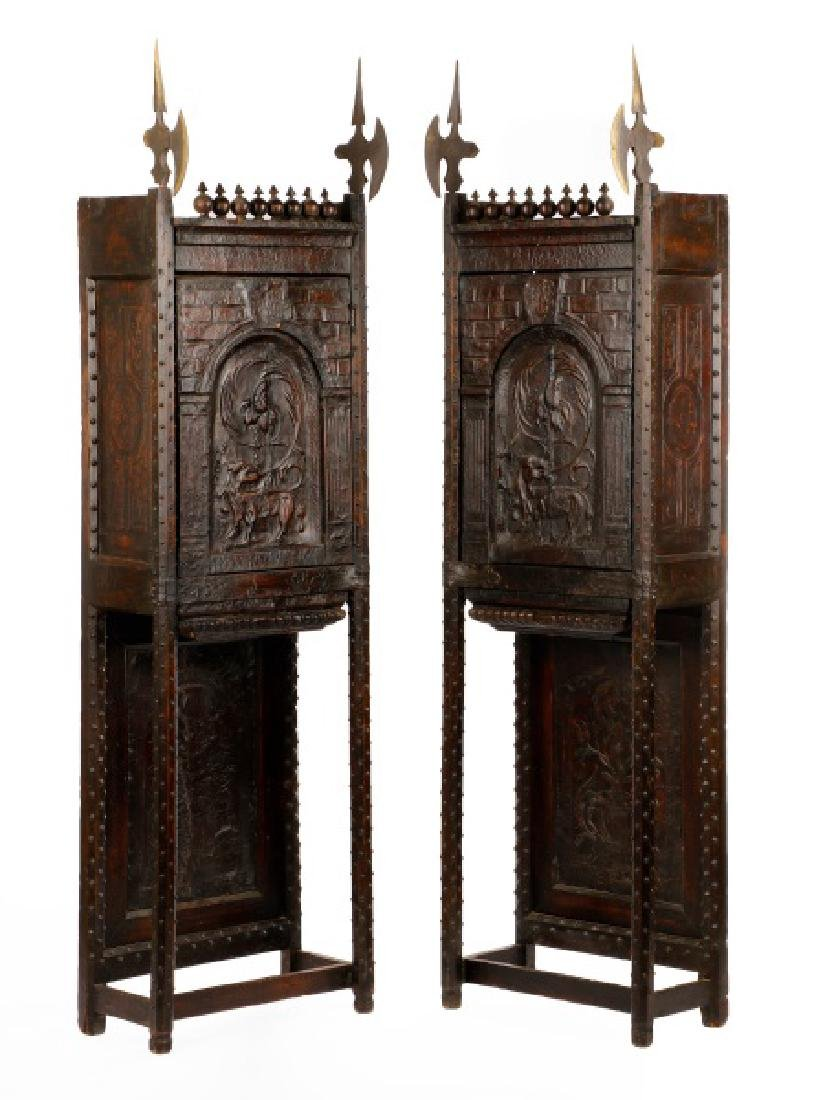 Pair, Highly Unusual Gothic Style Cabinets, 19th C