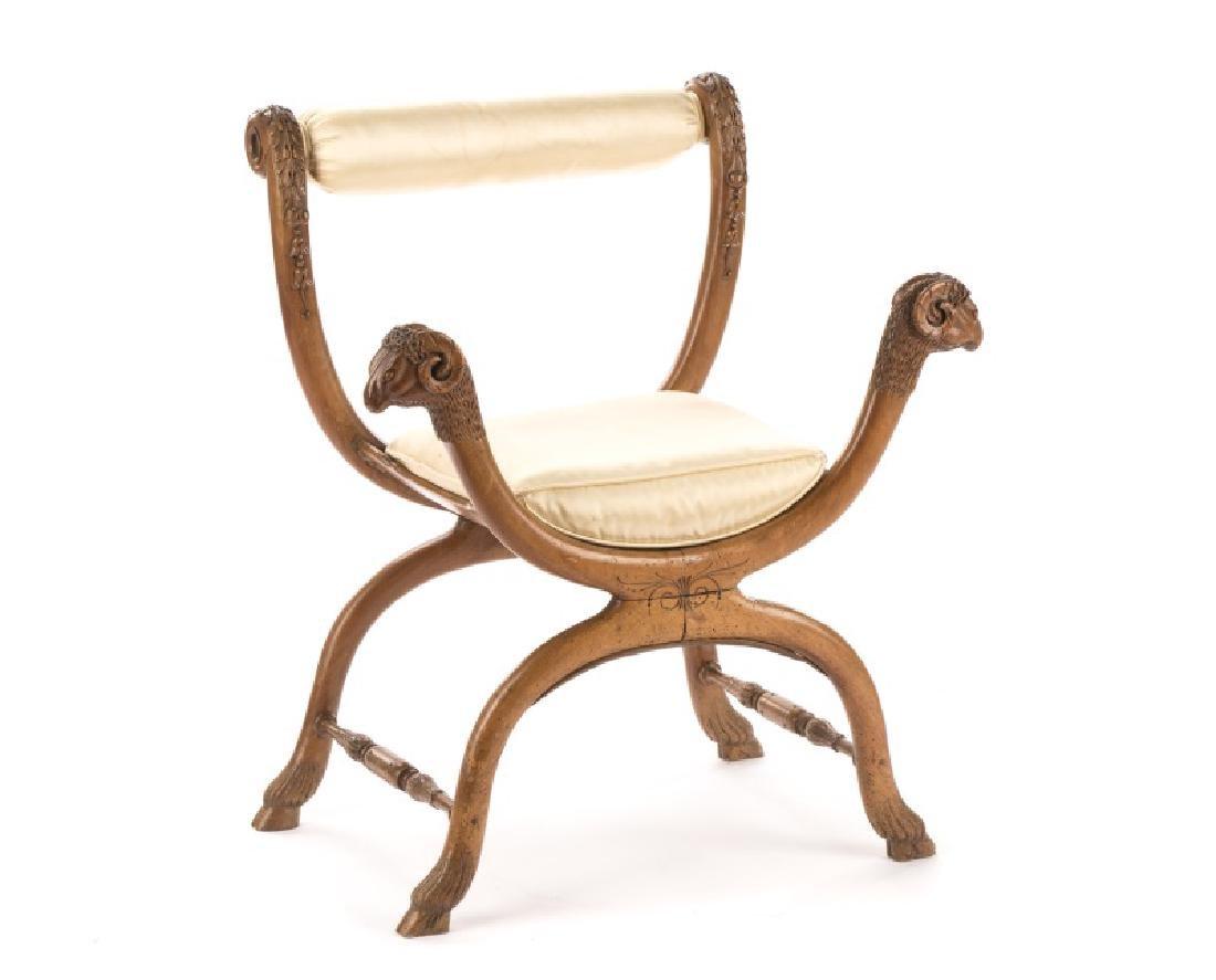 French Louis XVI Figural Rams Head Curule Chair