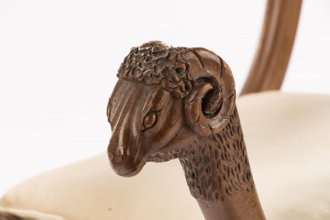 French Louis XVI Figural Rams Head Curule Chair - 2