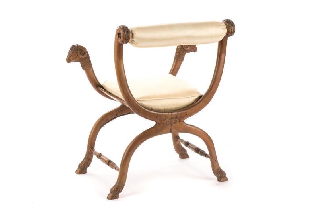 French Louis XVI Figural Rams Head Curule Chair - 9