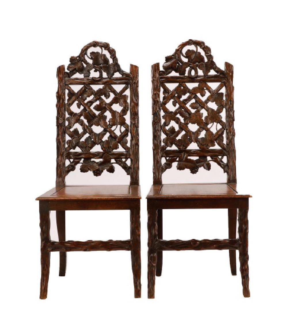 Pair, English Victorian Trellis Cottage Chairs