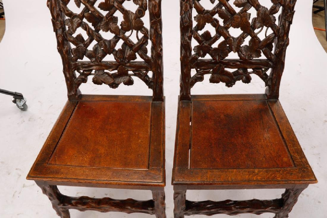 Pair, English Victorian Trellis Cottage Chairs - 3