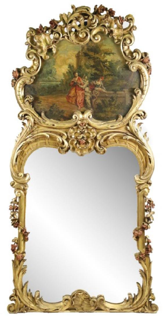 French Highly Carved Giltwood Trumeau, 19th C.