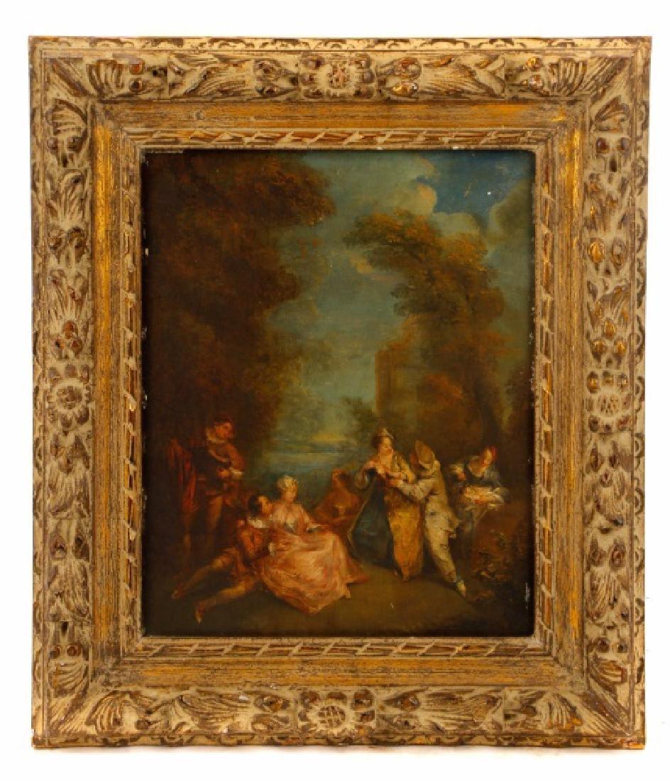 Manner of Watteau, Lovers in Garden, Oil Painting