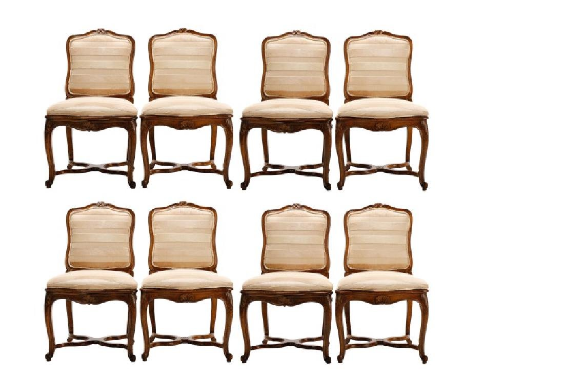 Set, 8 Walnut Louis XV Style Dining Chairs