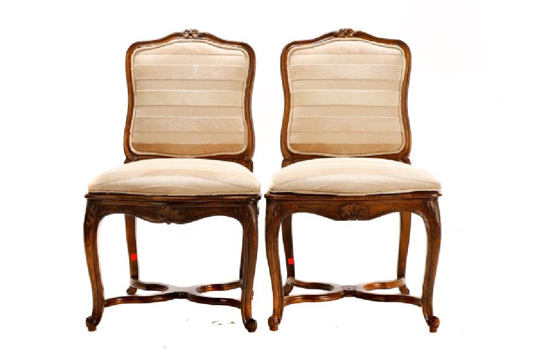 Set, 8 Walnut Louis XV Style Dining Chairs - 2