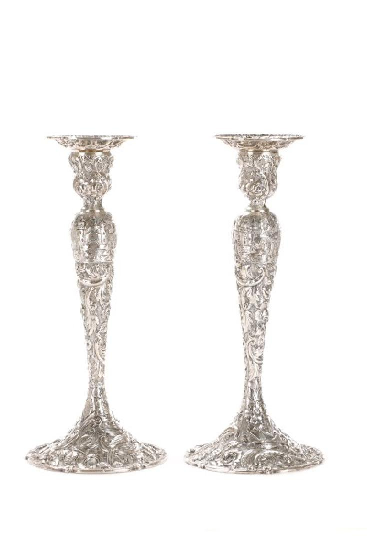 "Loring Andrews Sterling ""Castle"" Candle Sticks"