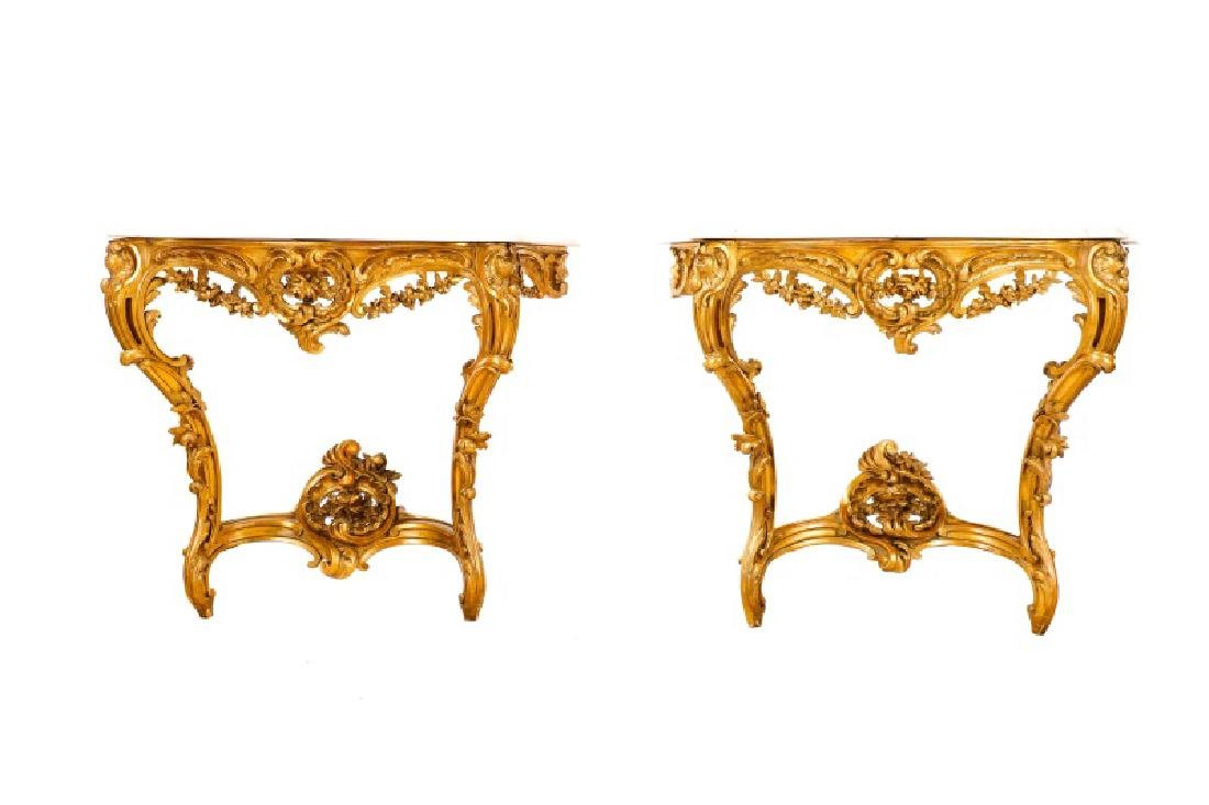 Fine French Marble & Giltwood Console Tables