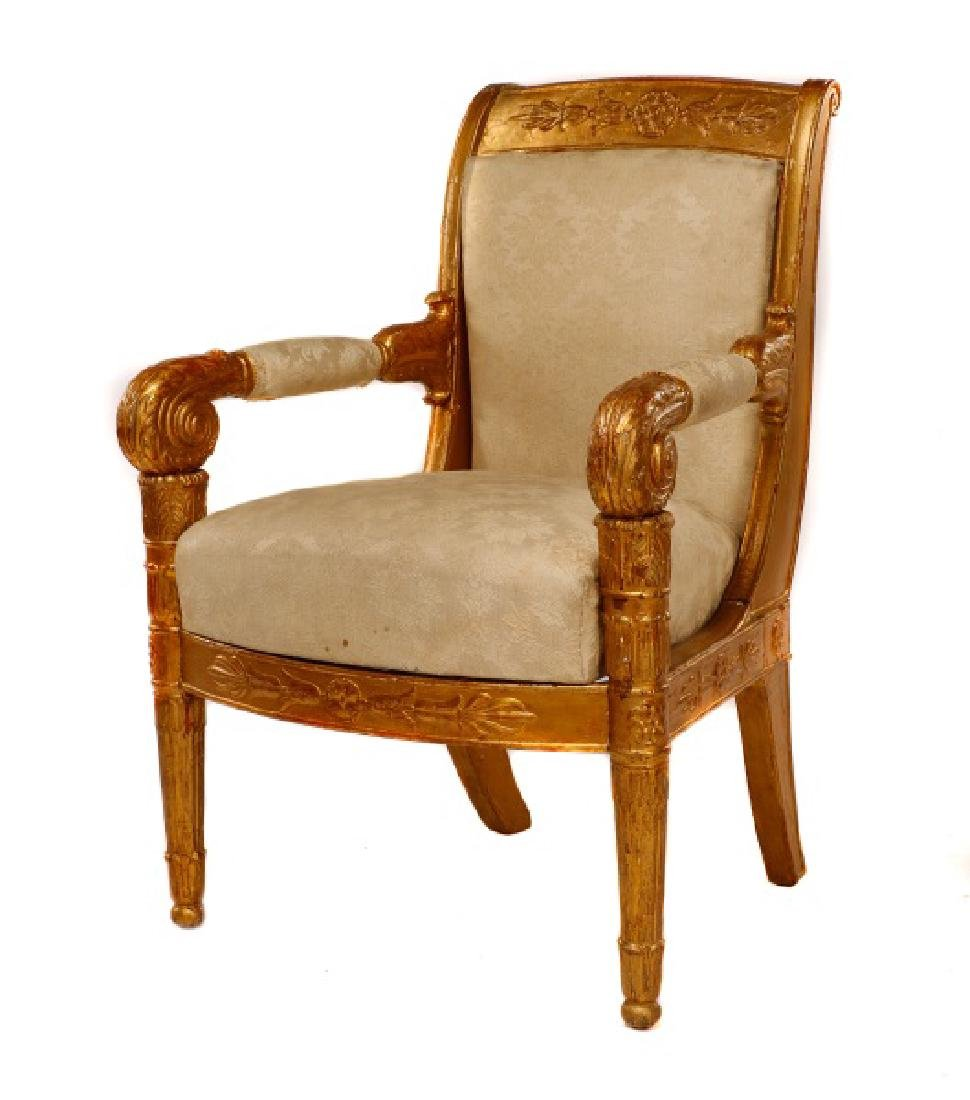 Fine Late Empire French Giltwood Fauteuil, Werner