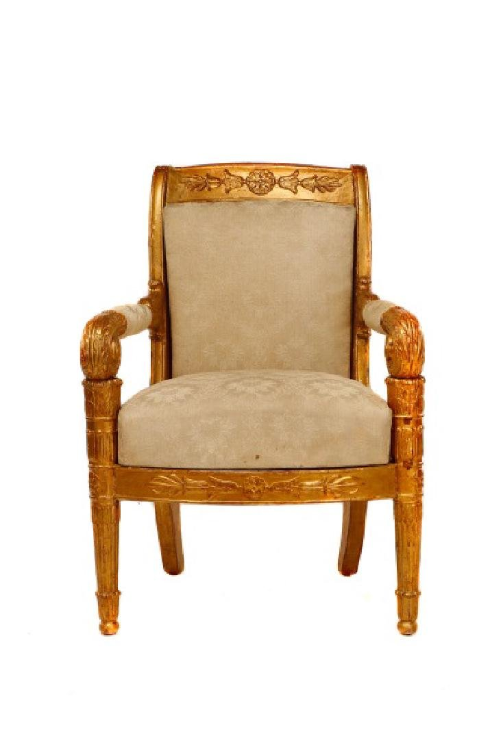 Fine Late Empire French Giltwood Fauteuil, Werner - 2