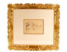 """Renoir 1906 Etching """"Femme nue Couchée"""""""