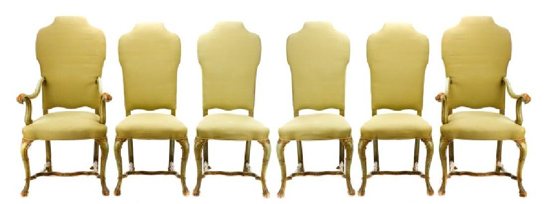 Set, 6 Baroque Style Paint Decorated Dining Chairs