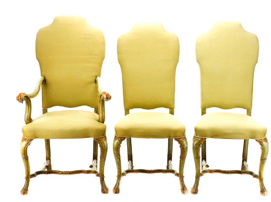 Set, 6 Baroque Style Paint Decorated Dining Chairs - 2