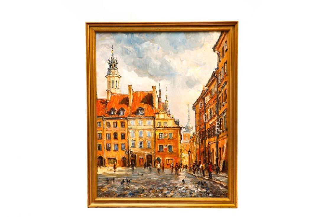 """Jan Pawlowski, """"Old Town Square, June 1980"""", O/C"""