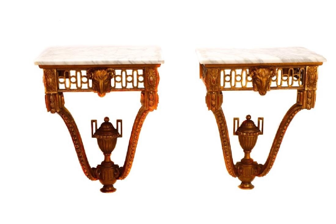 Pair, Italian Neoclassical Giltwood Console Tables