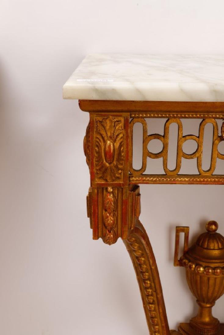 Pair, Italian Neoclassical Giltwood Console Tables - 4