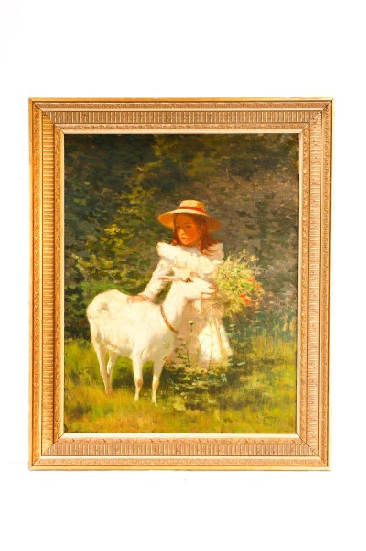 Alexandre Clarys, Girl with Goat, Signed O/C