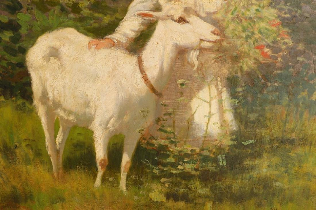Alexandre Clarys, Girl with Goat, Signed O/C - 3