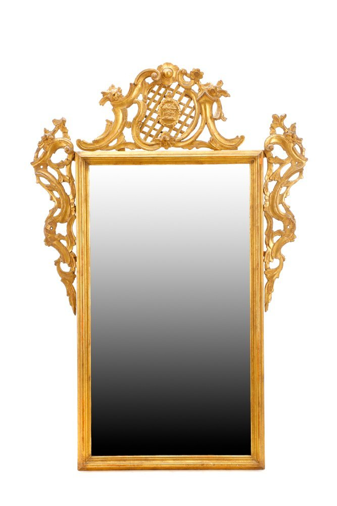 Continental Giltwood Rococo Style Mirror, 19 C.