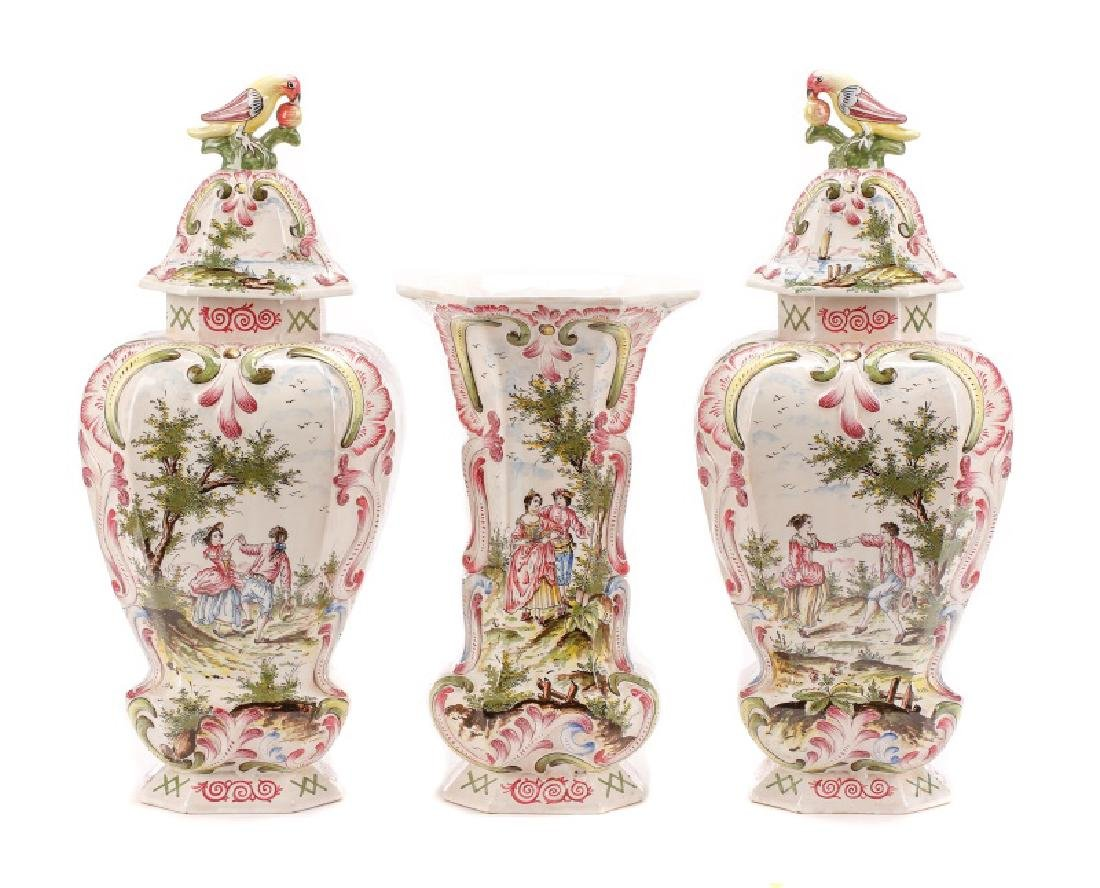 Veuve Perrin Faience 3 Piece Garniture Set