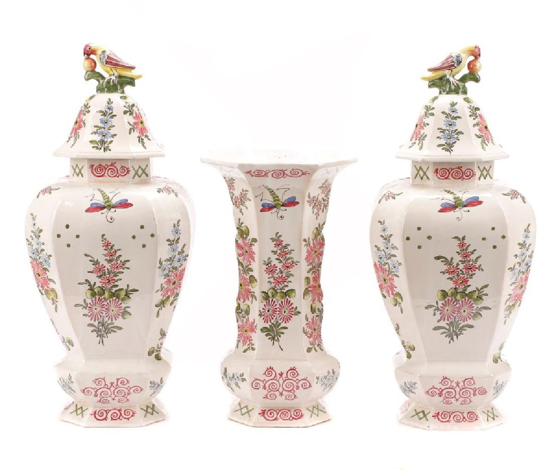 Veuve Perrin Faience 3 Piece Garniture Set - 8