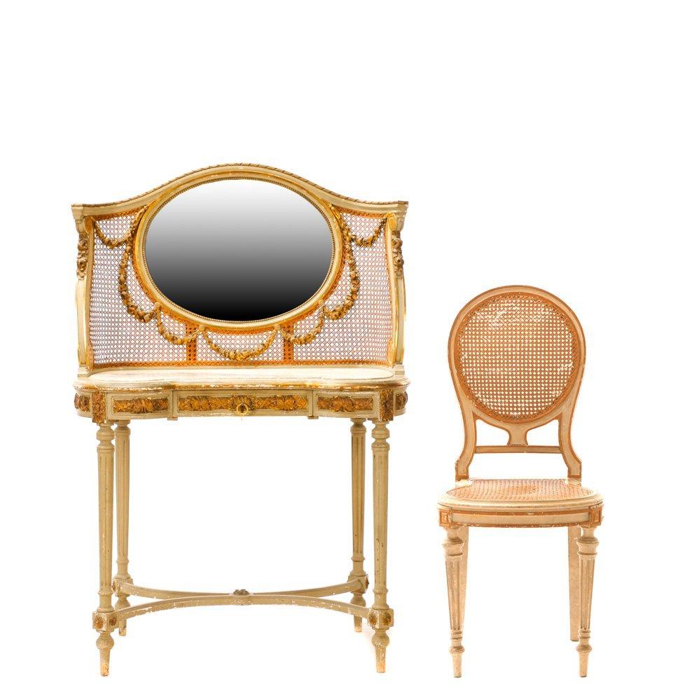 Louis XVI Style Mirrored Marble Top Vanity & Chair
