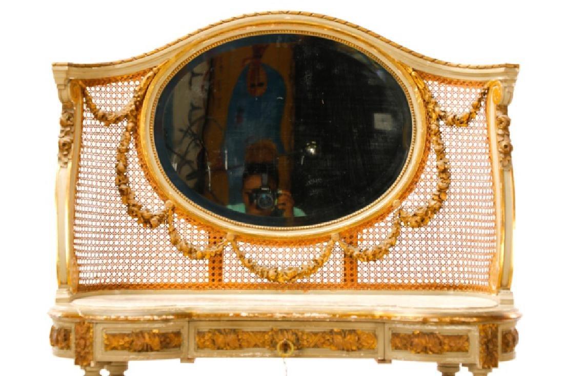 Louis XVI Style Mirrored Marble Top Vanity & Chair - 2