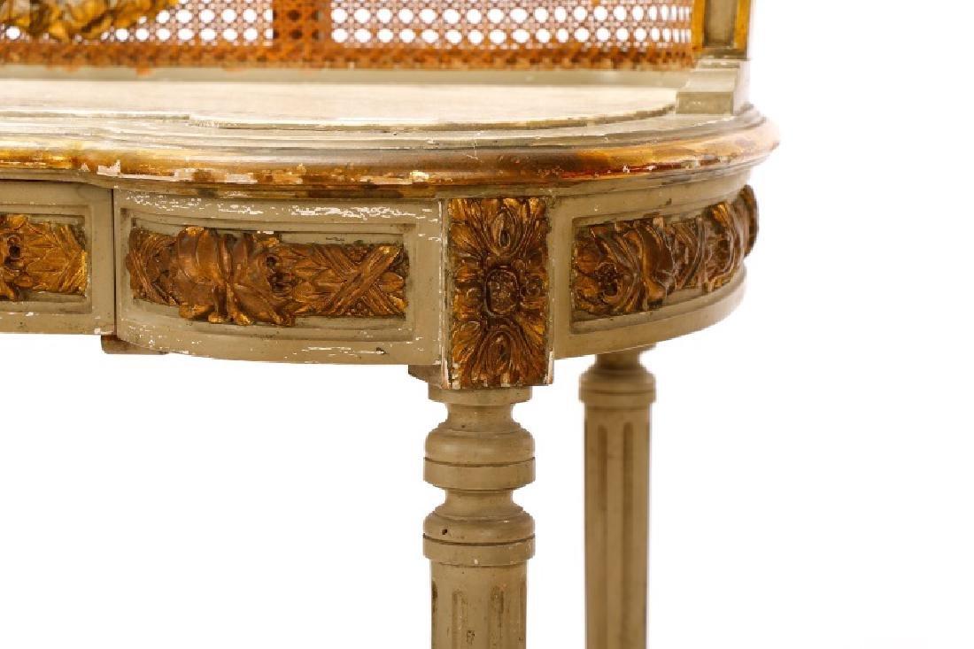Louis XVI Style Mirrored Marble Top Vanity & Chair - 6