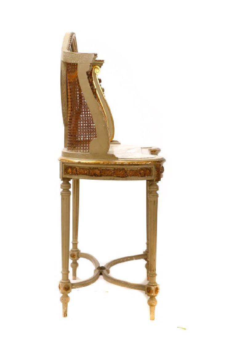 Louis XVI Style Mirrored Marble Top Vanity & Chair - 7