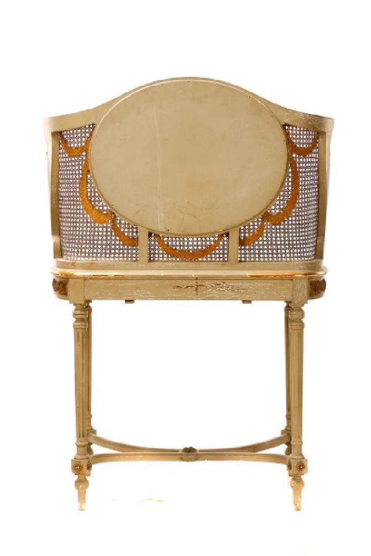 Louis XVI Style Mirrored Marble Top Vanity & Chair - 8