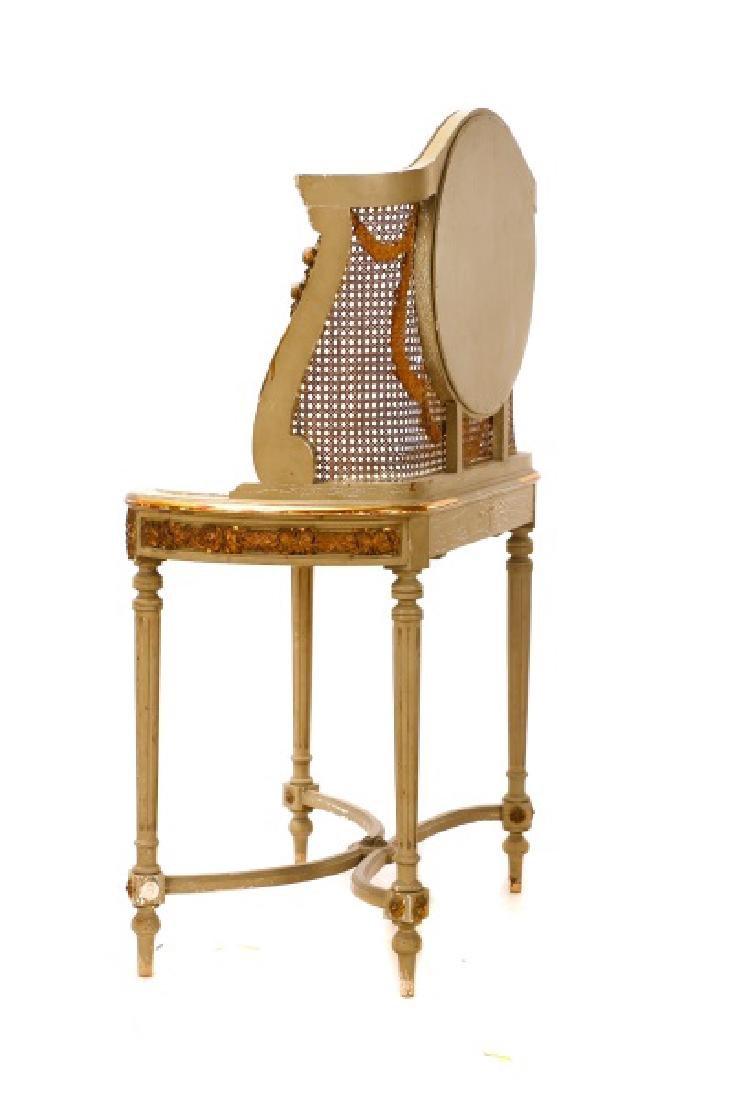 Louis XVI Style Mirrored Marble Top Vanity & Chair - 9
