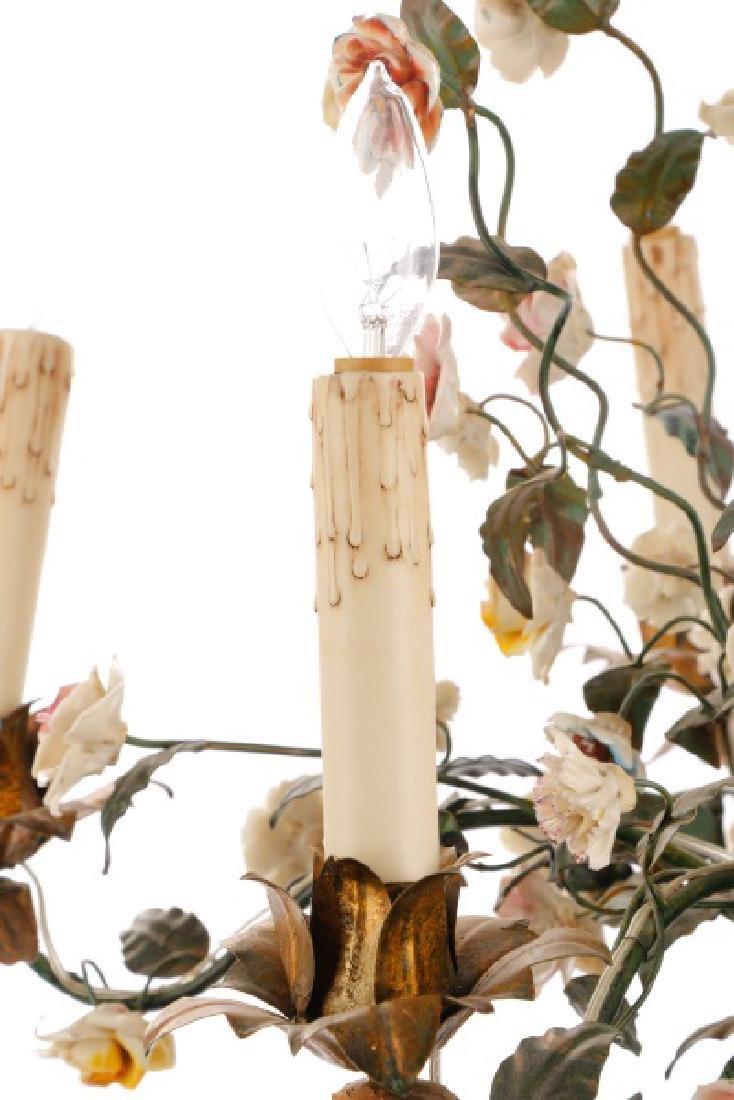 Continental Tole & Porcelain 5 Light Chandelier - 4